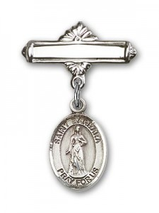 Pin Badge with St. Barbara Charm and Polished Engravable Badge Pin [BLBP0300]