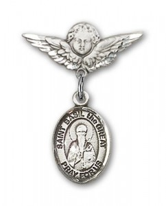Pin Badge with St. Basil the Great Charm and Angel with Smaller Wings Badge Pin [BLBP1796]