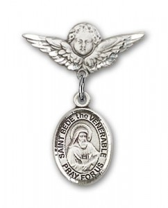 Pin Badge with St. Bede the Venerable Charm and Angel with Smaller Wings Badge Pin [BLBP1983]