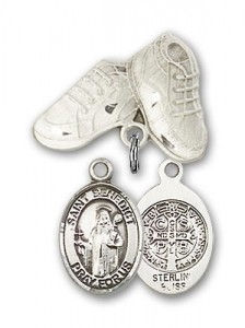 Pin Badge with St. Benedict Charm and Baby Boots Pin [BLBP0320]