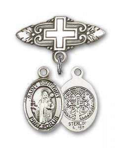 Pin Badge with St. Benedict Charm and Badge Pin with Cross [BLBP0315]