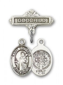 Pin Badge with St. Benedict Charm and Godchild Badge Pin [BLBP0319]