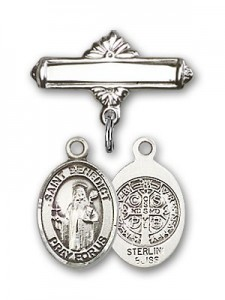 Pin Badge with St. Benedict Charm and Polished Engravable Badge Pin [BLBP0314]