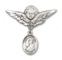 Pin Badge with St. Benjamin Charm and Angel with Larger Wings Badge Pin [BLBP0352]