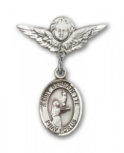 Pin Badge with St. Bernadette Charm and Angel with Smaller Wings Badge Pin [BLBP0381]