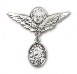 Pin Badge with St. Bernard of Montjoux Charm and Angel with Larger Wings Badge Pin [BLBP1725]