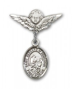 Pin Badge with St. Bernard of Montjoux Charm and Angel with Smaller Wings Badge Pin [BLBP1726]