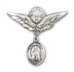 Pin Badge with St. Blaise Charm and Angel with Larger Wings Badge Pin [BLBP0331]