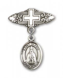 Pin Badge with St. Blaise Charm and Badge Pin with Cross [BLBP0329]