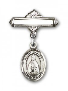 Pin Badge with St. Blaise Charm and Polished Engravable Badge Pin [BLBP0328]