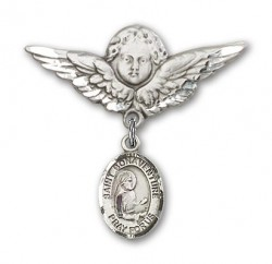 Pin Badge with St. Bonaventure Charm and Angel with Larger Wings Badge Pin [BLBP0857]