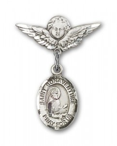 Pin Badge with St. Bonaventure Charm and Angel with Smaller Wings Badge Pin [BLBP0858]