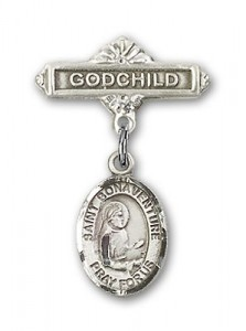 Pin Badge with St. Bonaventure Charm and Godchild Badge Pin [BLBP0859]
