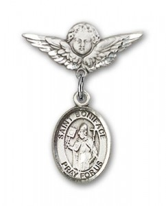 Pin Badge with St. Boniface Charm and Angel with Smaller Wings Badge Pin [BLBP0325]