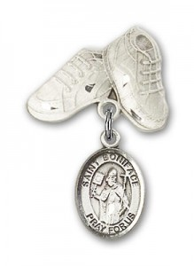 Pin Badge with St. Boniface Charm and Baby Boots Pin [BLBP0327]