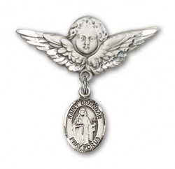 Pin Badge with St. Brendan the Navigator Charm and Angel with Larger Wings Badge Pin [BLBP0387]