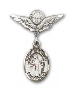Pin Badge with St. Brendan the Navigator Charm and Angel with Smaller Wings Badge Pin [BLBP0388]