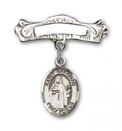 Pin Badge with St. Brendan the Navigator Charm and Arched Polished Engravable Badge Pin [BLBP0386]