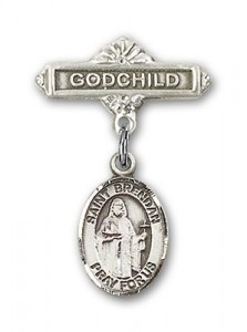 Pin Badge with St. Brendan the Navigator Charm and Godchild Badge Pin [BLBP0389]