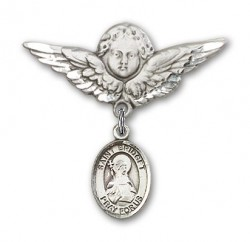 Pin Badge with St. Bridget of Sweden Charm and Angel with Larger Wings Badge Pin [BLBP1116]