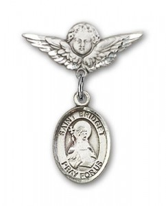 Pin Badge with St. Bridget of Sweden Charm and Angel with Smaller Wings Badge Pin [BLBP1117]