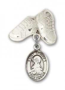 Pin Badge with St. Bridget of Sweden Charm and Baby Boots Pin [BLBP1119]