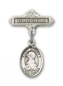 Pin Badge with St. Bridget of Sweden Charm and Godchild Badge Pin [BLBP1118]