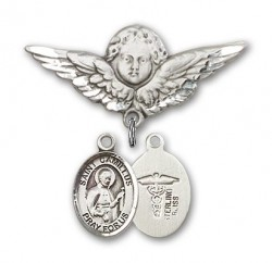 Pin Badge with St. Camillus of Lellis Charm and Angel with Larger Wings Badge Pin [BLBP0395]