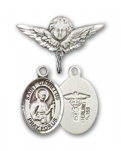 Pin Badge with St. Camillus of Lellis Charm and Angel with Smaller Wings Badge Pin [BLBP0396]