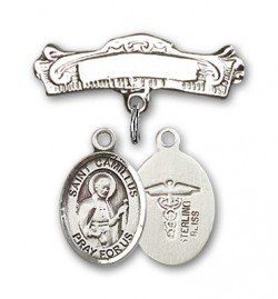 Pin Badge with St. Camillus of Lellis Charm and Arched Polished Engravable Badge Pin [BLBP0394]