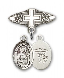 Pin Badge with St. Camillus of Lellis Charm and Badge Pin with Cross [BLBP0392]