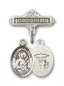 Pin Badge with St. Camillus of Lellis Charm and Godchild Badge Pin [BLBP0397]