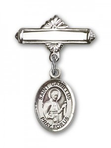 Pin Badge with St. Camillus of Lellis Charm and Polished Engravable Badge Pin [BLBP0391]
