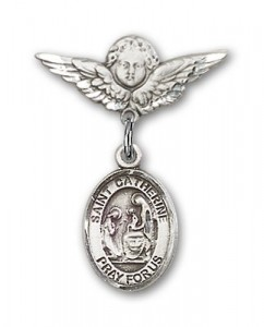 Pin Badge with St. Catherine of Siena Charm and Angel with Smaller Wings Badge Pin [BLBP0360]