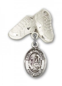 Pin Badge with St. Catherine of Siena Charm and Baby Boots Pin [BLBP0362]