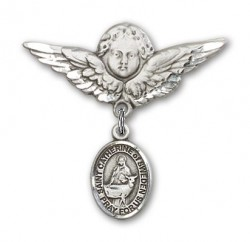 Pin Badge with St. Catherine of Sweden Charm and Angel with Larger Wings Badge Pin [BLBP2185]