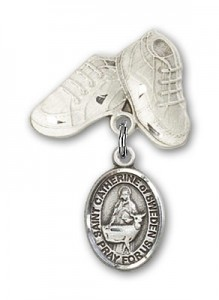 Pin Badge with St. Catherine of Sweden Charm and Baby Boots Pin [BLBP2188]