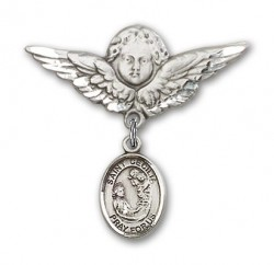 Pin Badge with St. Cecilia Charm and Angel with Larger Wings Badge Pin [BLBP0373]