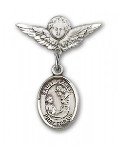 Pin Badge with St. Cecilia Charm and Angel with Smaller Wings Badge Pin [BLBP0374]