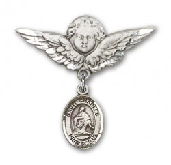 Pin Badge with St. Charles Borromeo Charm and Angel with Larger Wings Badge Pin [BLBP0402]