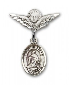 Pin Badge with St. Charles Borromeo Charm and Angel with Smaller Wings Badge Pin [BLBP0403]