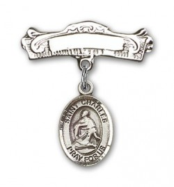 Pin Badge with St. Charles Borromeo Charm and Arched Polished Engravable Badge Pin [BLBP0401]