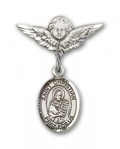 Pin Badge with St. Christian Demosthenes Charm and Angel with Smaller Wings Badge Pin [BLBP1677]