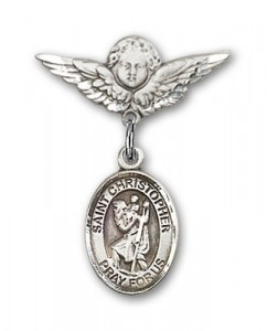 Pin Badge with St. Christopher Charm and Angel with Smaller Wings Badge Pin [BLBP0417]