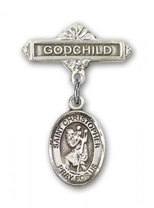 Pin Badge with St. Christopher Charm and Godchild Badge Pin [BLBP0418]