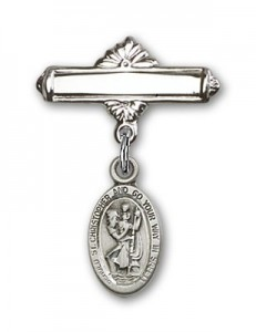 Pin Badge with St. Christopher Charm and Polished Engravable Badge Pin [BLBP0153]