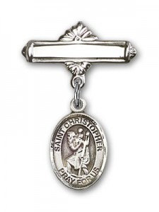 Pin Badge with St. Christopher Charm and Polished Engravable Badge Pin [BLBP0413]
