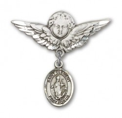 Pin Badge with St. Clement Charm and Angel with Larger Wings Badge Pin [BLBP2206]