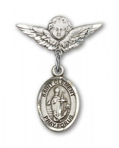 Pin Badge with St. Clement Charm and Angel with Smaller Wings Badge Pin [BLBP2207]