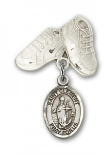 Pin Badge with St. Clement Charm and Baby Boots Pin [BLBP2209]